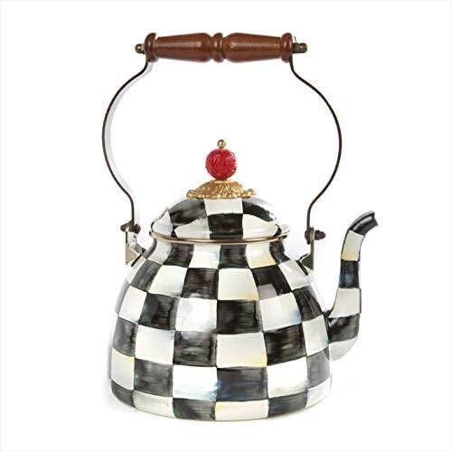 MacKenzie-Childs Courtly Check Enamel Tea Kettle, Decorative Teapot, 2-Quart Tea Kettle