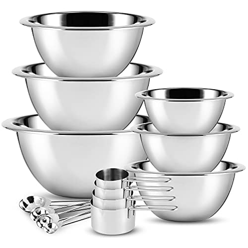 Stainless Steel Mixing Bowls - JoyTable Mixing Bowls Set of 14 - Large Stainless Mixing Bowls For Ki