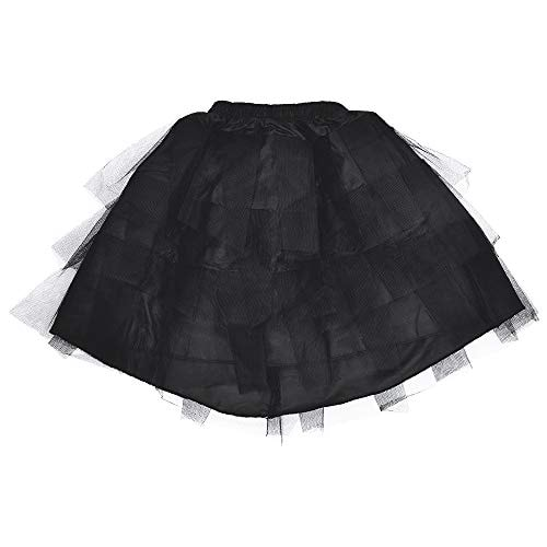 LULUSILK Girl's Hoopless Petticoat Crinoline with 3 Layers, Flower Girl Underskirt, Black