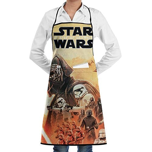 CUSDITOMSUE S-Tar W-ars Darth Vader Apron for Women Men, Waterproof Apron with 2 Pockets for Cooking