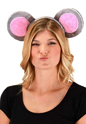Mouse Ears Headband and Tail Plush Costume Kit for Adults and Kids Gray