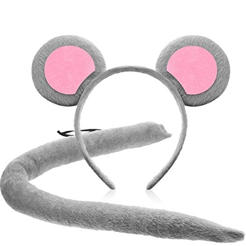 WILLBOND Large Mouse Ear Headband and Tail for Halloween Cosplay Costume Party Decoration