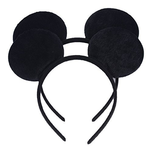 NiuZaiz Set of 2 Black Costume Mouse Ears Headband for Boys and Girls Birthday Party Decorations (Bl