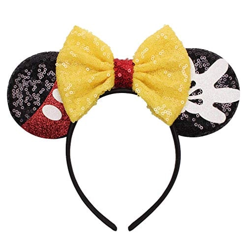 YanJie Mouse Ears Bow Headbands, Glitter Party Yellow Princess Decoration Cosplay Costume for Girls