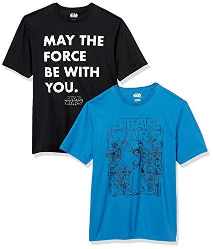 Amazon Essentials Men's Disney Star Wars Marvel Regular-Fit Crew-Neck T-Shirts, 2-Pack Star Wars For