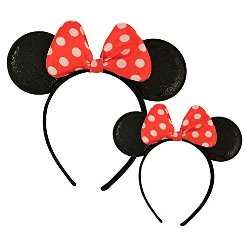 Disney Minnie Mouse Sparkled Ear Shaped Headband with Polka Dot Bow, Mommy and Me Set, Include One A