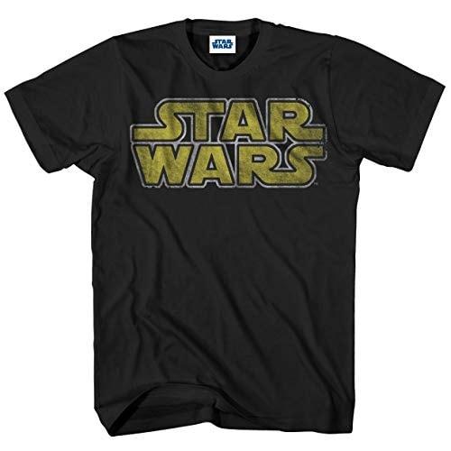 STAR WARS Men's Classic Vintage Simple Logo T-Shirt, Black, Large
