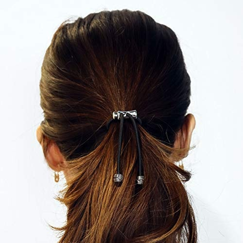 Pulleez Sliding Ponytail Holder Accessory Featuring Silver Knot Charms