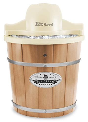 Elite Gourmet EIM-924L 4 Qt. Electric Motorized Maker Ice & Rock Salt, 4Qt. Freezing Canister, Cream
