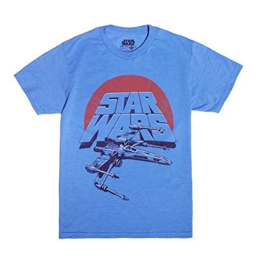 Star Wars Boys' Vintage Inspired X-Wing Fighter T-shirt, Light Blue, Medium