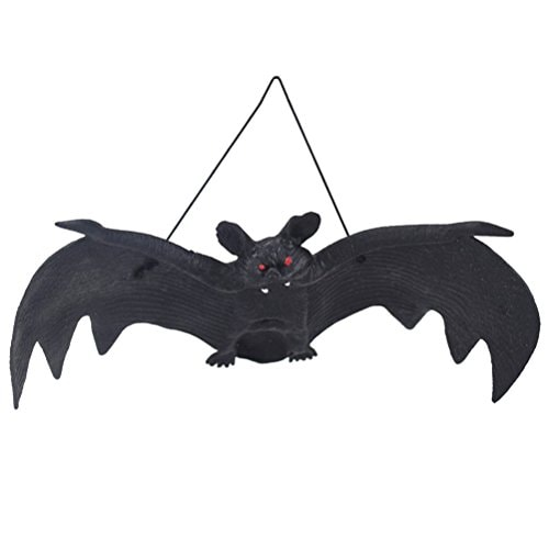 LUOEM 3 PCS Halloween Simulation Hanging Bats Realistic Looking Spooky Rubber Hanging Bats Props for