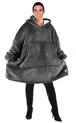 Oversized Hoodie Blanket Sweatshirt,Super Soft Warm Comfortable Sherpa Giant Pullover with Large Fro