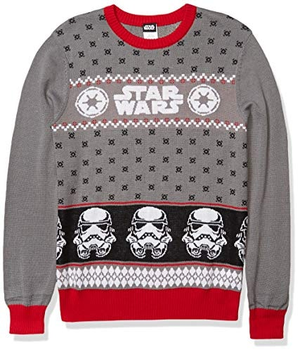 Star Wars Men's Ugly Christmas Sweater, Stormtrooper/Grey, Small