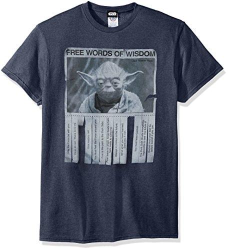 Star Wars unisex adult Star Wars - Words of Wisdom T-shirt T Shirt, Premium Navy Heather, Large US