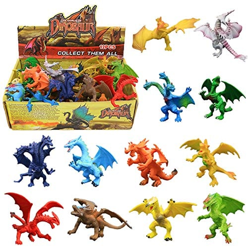 Dragon Toys,12 Piece Assorted Realistic Looking Dragon Figure,4 Inch Mini Dragons Sets with Gift Box