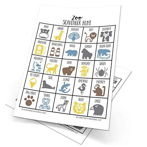 Zoo Scavenger Hunt for Kids, Set of 10, Dry-Erase (Marker Included) Amusement Park Scavenger Hunt fo