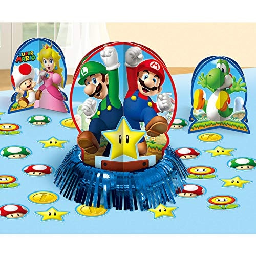 Amscan 281554 Super Mario Brothers Table Decorating Kit, 1 pack (23 pcs), Party Favor
