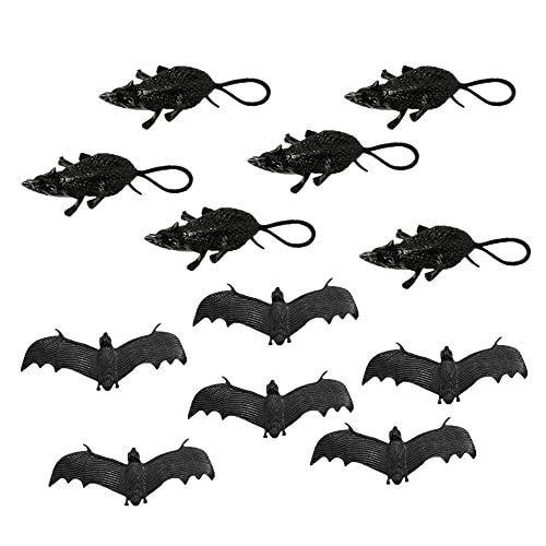 Halloween Rubber Bat Toy(6 pcs), Mouse Toy(6 pcs) Halloween Decoration