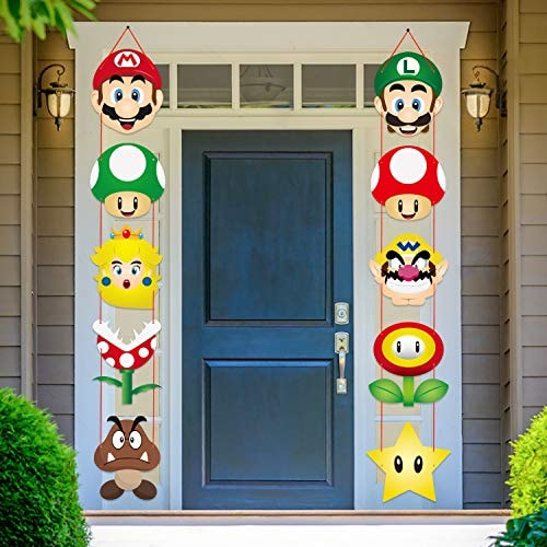 Mario Brother Party Decoration Porch Sign Theme Decor Favors Hanging Flags Banners Wall Decoration M