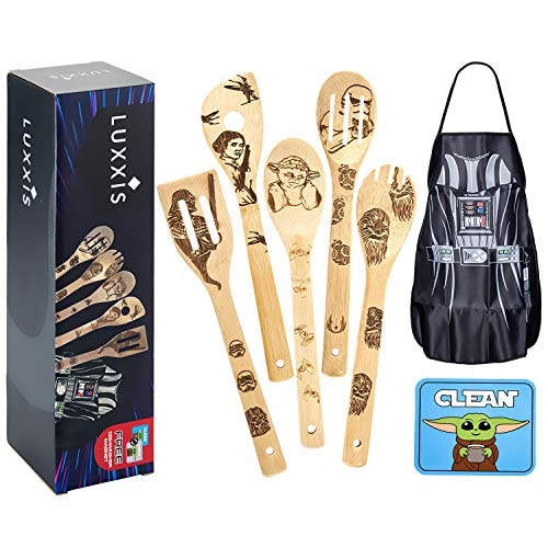 Luxxis Star Wars Gifts Cooking Utensils 7PC Set - 5X Organic Bamboo Spoons, 1X Kitchen Star Wars Apr