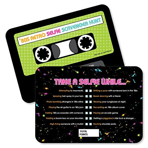 80's Retro - Selfie Scavenger Hunt - Totally 1980s Party Game - Set of 12