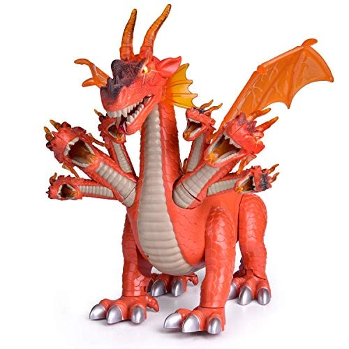"FUN LITTLE TOYS 10"" Dragon Toys for Boys and Girls, 7 Headed Walking Toy Dragon Figure with Lights a"