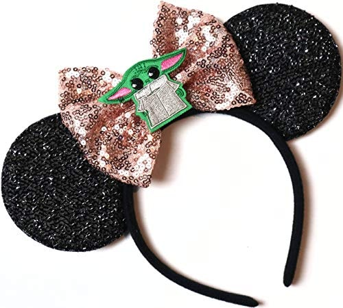 CLGIFT Star Wars Ears, Black Mouse Ears, Darth Vader, Mickey Mouse Ears (Baby Yoda)