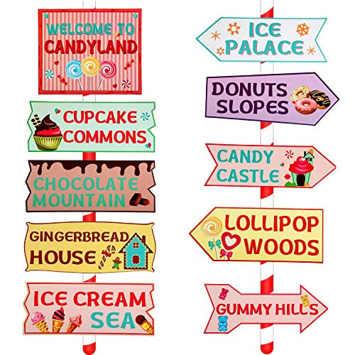 20 Pieces Candy Land Party Sign Welcome Directional Signs Street Sign Photo Prop Cutouts for Sweet T