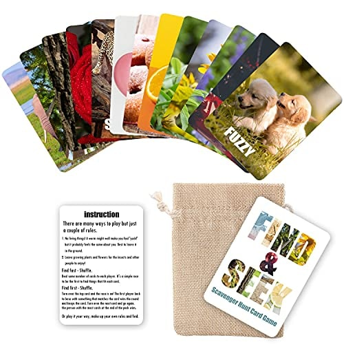 Find and Seek Scavenger Hunt Card Game - Outdoor Indoor Card Game Outside Beach Game for Kids Family