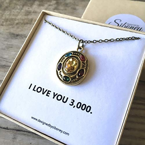 Marvel Infinity Stone Necklace 24 inch chain Gift Card Jewelry Box