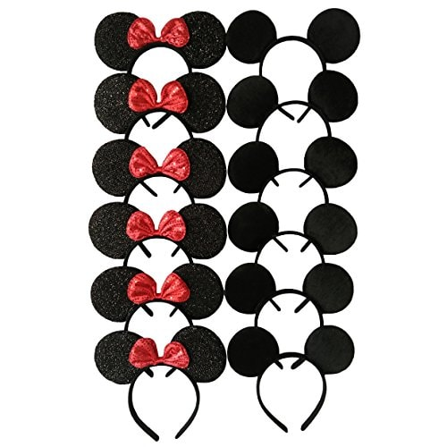 CHuangQi Mouse Ears Headband Pack of 12 for Boys and Girls Birthday Party or Celebrations, Solid Bla