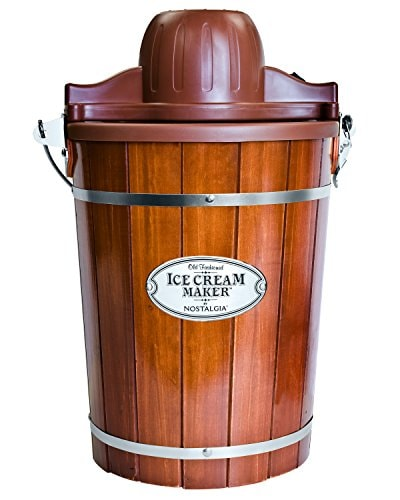 Nostalgia Electric Bucket Ice Cream Maker With Easy-Carry Handle, Makes 6-Quarts in Minutes, Frozen