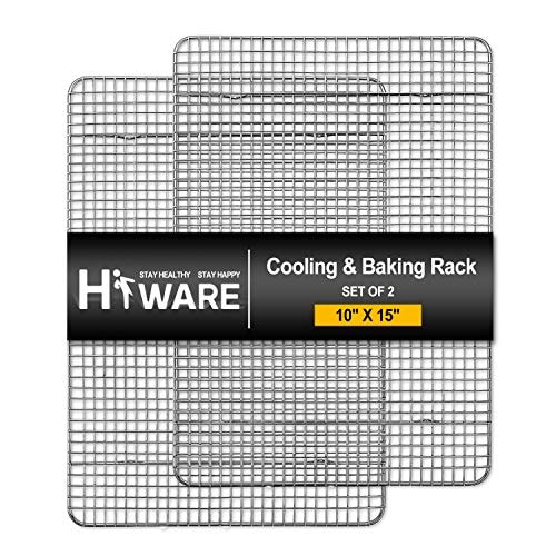 """Hiware 2-Pack Cooling Racks for Baking - 10"""" x 15"""" - Stainless Steel Wire Cookie Rack Fits Jelly Rol"""