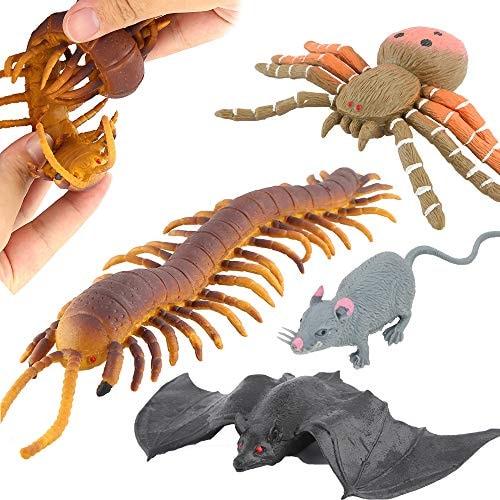 ValeforToy Halloween Toys,Joke Tricks 9 Inch Rubber Spider Bat Mouse Centipede Toy Set,Food Grade Ma