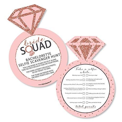 Bride Squad - Selfie Scavenger Hunt - Rose Gold Bridal Shower or Bachelorette Party Game - Set of 12
