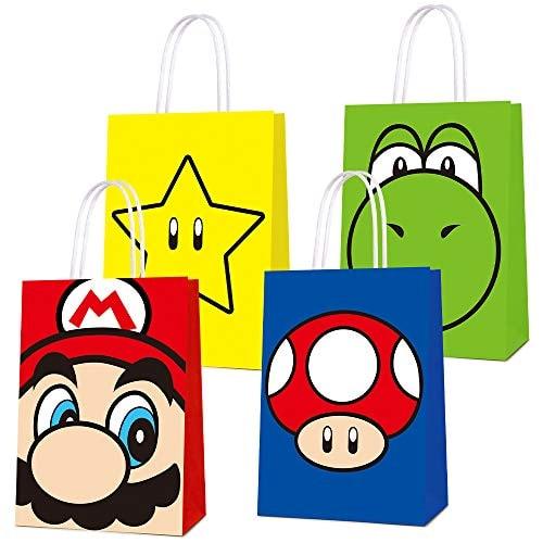 16 PCS Party Favor Bags for Super Bros Mario Birthday Party Supplies, Party Gift Bags for Super Bros