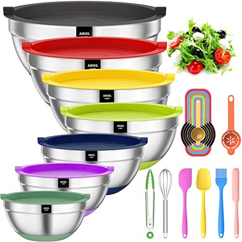 Mixing Bowls with Airtight Lids, 20 piece Stainless Steel Metal Nesting Bowls, AIKKIL Non-Slip Color
