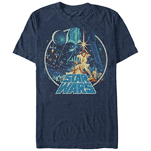 Star Wars Men's Vintage Victory Graphic T-Shirt, Navy Heather, L