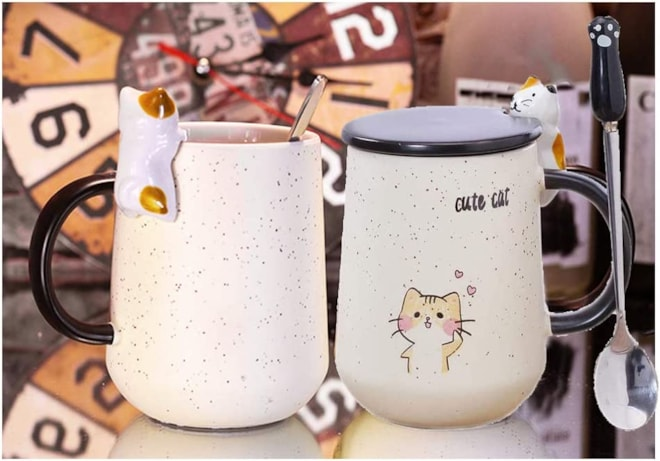 Cute Handmade Cat Tea Cups, with Lid and Stainless Steel Spoon,