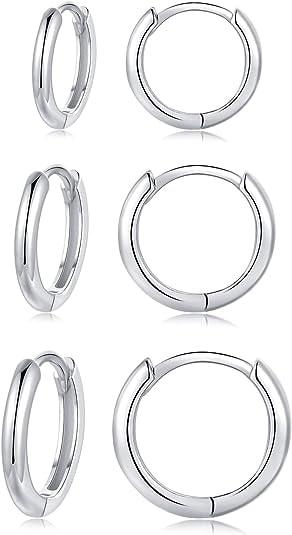 Silver Hoop Earrings for Women, 3 Pairs Small Sterling Silver Huggie