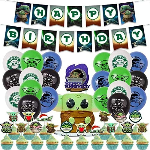 Baby Yoda Birthday Decorations Baby Yoda Birthday Party Supplies Set Include Balloons Banners Cake T