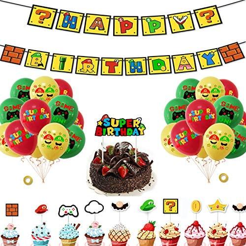 Mario Birthday Party Supplies, 35PCS Super Mario Party Decorations Including Mario Birthday Banner,