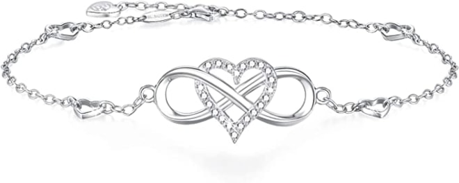 Infinity Heart Charm 18K White Gold-Plated 925 Sterling Silver