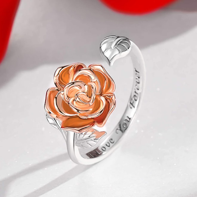 Step Forward Promise Ring, Sterling Silver Rose Flower Adjustable