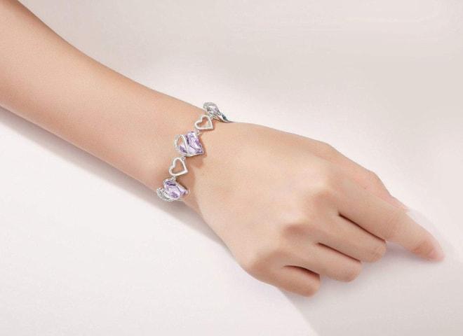 Infinity Love Heart Link Bracelet with Alexandrite Light Purple Birthstone