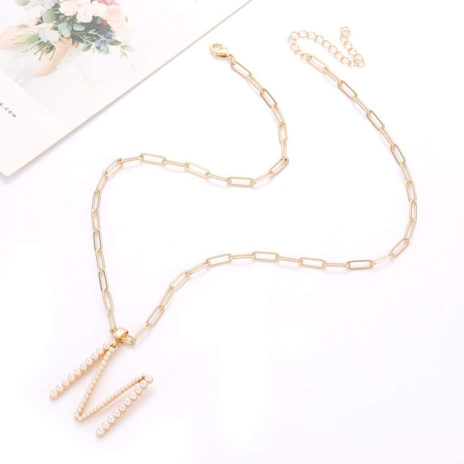 Pearl Initial Necklace for Women (Letter K)