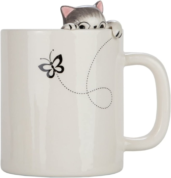 Lily's Home  Clinging Grey Tabby Cat Mug for Coffee and Tea.
