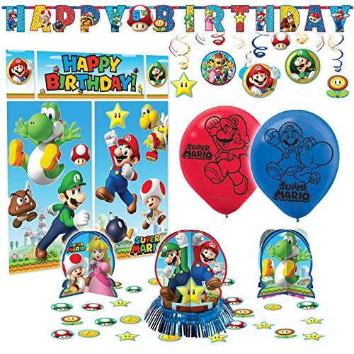amscan Super Mario Bros Premium Birthday Party Pack Decoration Supplies Childrens