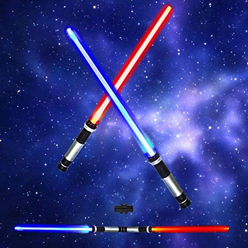 Light Up Saber 2-in-1 LED (6 Colors) FX Dual Swords Set with Sound (Motion Sensitive) for Galaxy War