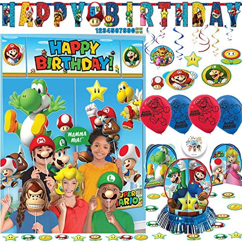 Super Mario Bros Birthday Party Decoration Pack with Scene Setter and Photo Props, Table Decorating